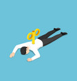 isometric exhausted businessman with wind-up key vector image