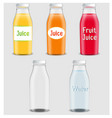 juice products ad 3d bottles vector image