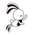 jump rabbit animal cartoon isolated icon line vector image vector image