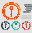 key icon on red blue green orange buttons vector image vector image