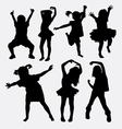 Kid little girl dancing silhouettes vector image vector image