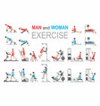 man and woman exercise vector image