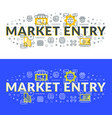 market entry flat line concept for web banner and vector image vector image