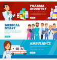 medical banners doctors ambulance and pharma vector image