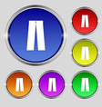 Pants icon sign Round symbol on bright colourful vector image vector image
