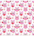 pattern with pink owls with hearts vector image vector image