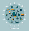 petroleum icons round composition vector image vector image