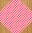 Pink Checkered Tablecloth on Brown Oak Wooden vector image