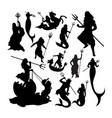 poseidon silhouettes vector image