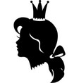 profile of a princess or queen silhouette vector image vector image