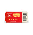 realistic cinema ticket icon in flat style admit vector image vector image
