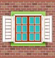 retro vintage wooden window on red raw brick wall vector image vector image