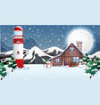 scene with wooden house in winter vector image vector image