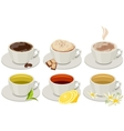 Set of cups with hot drinks vector image