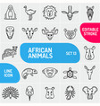 set of linear icons of african animals animals vector image vector image