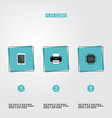 set of pc icons flat style symbols with tablet vector image