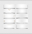 set of white notes paper on transparent background vector image vector image
