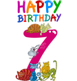seventh birthday anniversary card vector image vector image