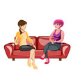 two women sitting on a sofa vector image vector image