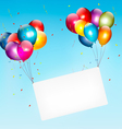 Colorful balloons holding up a cloth white banner vector image