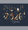 2020 new year minimal banner with gold elements vector image vector image