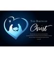 birth christ and manger in heart luke 2 7 vector image vector image