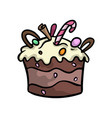 birthday creamy chocolate cake with candy sticks vector image vector image