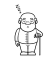 Black and white old man sleeping and snoring vector image vector image