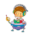 boy wearing headphones vector image vector image