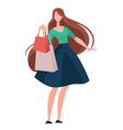 brunette woman shopping with brown long hair and vector image