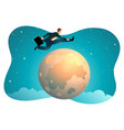 businessman jumping over moon vector image vector image