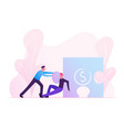 businessmen male characters pushing huge puzzle vector image