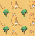 busy cat walking with milk jar seamless pattern vector image vector image