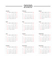 calendar 2020 year template day planner in this vector image