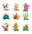 Cartoon underwater plants and creatures vector image