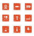 cheerful concert icons set grunge style vector image