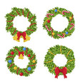 christmas green wreath holiday decoration and vector image vector image