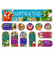 christmas new year wish greeting tags vector image vector image
