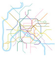 colored metro map paris vector image