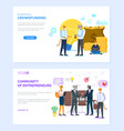 community entrepreneurs and crowdfunding web vector image