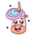 cute unicorn face cartoon flat icon vector image vector image