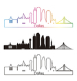 Dallas skyline linear style with rainbow vector image vector image