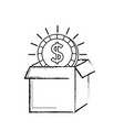 figure open box with coin cash money inside vector image vector image