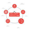 flat line icon concept delivery service vector image vector image
