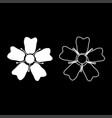 flower sakura icon set white color flat style vector image