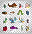 funny insects stickers on transparent background vector image vector image