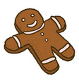 gingerbread man icon hand drawn style vector image