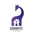 giraffe animal house logo design vector image vector image