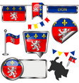 glossy icons with flag lyon vector image vector image