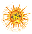 Gold tropical sun logo vector image
